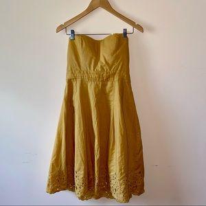Anthropologie Strapless Scalloped Hem Dress